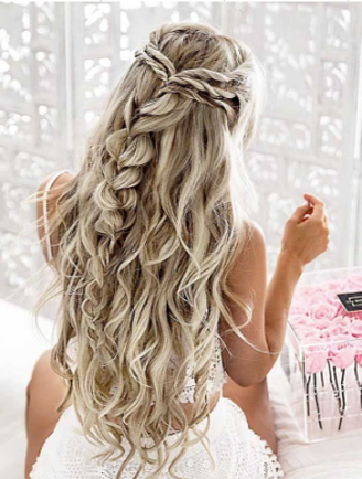 Pony tail braided curls
